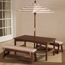 outdoor table u0026 bench set with cushions u0026 umbrella