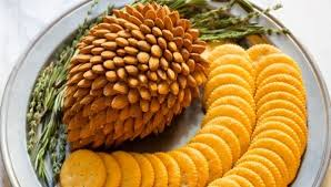 almond pine cone cheese balls for thanksgiving and