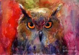 bright impressionist owl watercolor painting painting by svetlana