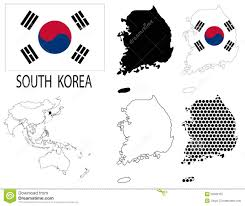 Korea Map Asia by North Korea Contour Maps National Flag And Asia Map Vector