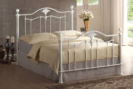 White Metal Bed Frame White Metal Bed Frame With Headboard And Beige Carving Bedding Set