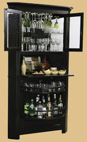 tall black corner liquor cabinet with glass doors and fold down