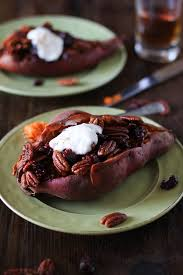 stuffed sweet potatoes with maple candied pecans