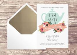 bridal shower tea party printed baby shower tea party invitation with gold envelope liner