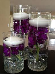 Vases With Flowers And Floating Candles Dark Purple Wedding Table Decorations