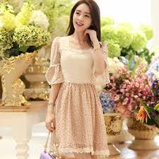 n1422 japanese style chiffon floral dress sweet lace midi dress
