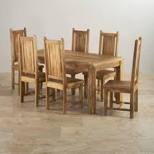 Light Oak Furniture Baku Light Dining Table In Natural Mango 6 Mango Chairs
