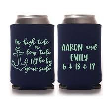 wedding koozie favors wedding favors nautical personalized anchor can coolers
