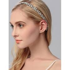 sparkly hair silver rhinestoned sparkly wedding elastic hair band rosegal