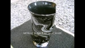 How To Make A Mercury Glass Vase Swirling Gorgeous Metallic Black U0026 Silver Glass Vase Youtube