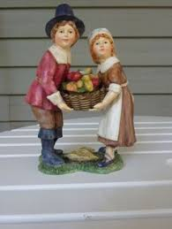 thanksgiving pilgrims family two pilgrims figurine