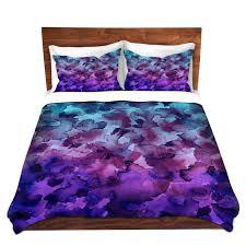 color me floral 5 blue purple ombre art watercolor duvet