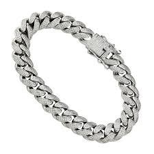 link bracelet with diamonds images 925 sterling silver mens lab created stones cuban link bracelet 9 jpg