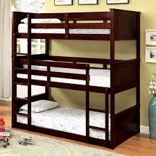 Espresso Triple Twin Bunk Bed  Beds In - Espresso bunk bed