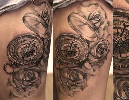 tattoo compass realistic realistic grey roses quote and compass tattoos on thigh photo 2