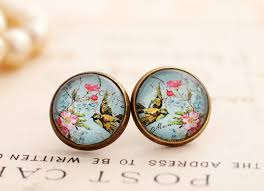nickel earrings blue floral bird earrings colorful flower studs pink and blue