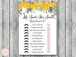 he said she said bridal shower wedding shower printable bridal shower