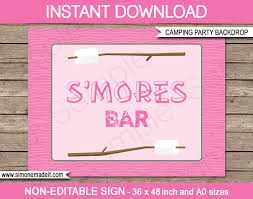 pink backdrop pink girl cing party s mores bar backdrop party decorations