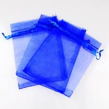 blue gift bags royal blue organza drawstring pouches jewelry party small wedding