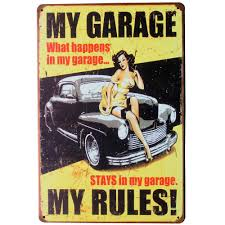 2017 wholesale my garage my rules tin sign vintage decor plate