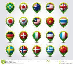 Europe Map With Countries by Europe Map With Countries Flags Location Pins Stock Illustration