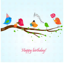 singing birthday birthday greeting card with birds on the branch singing songs