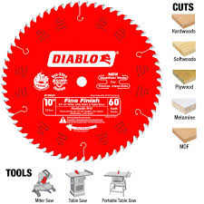 best table saw blade diablo 10 in x 60 tooth fine finish saw blade 25 pack d1060x025