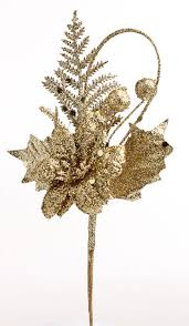 glittery gold floral picks florals