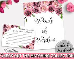 bridal shower words of wisdom cards words of wisdom bridal shower words of wisdom floral bridal shower