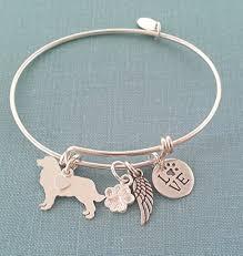 monogram bangle bracelet 925 sterling silver bernese mountain dog charm adjustable bangle