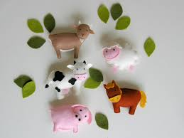 pattern felt ornaments 5 animals farm animal mobile diy