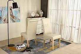 Scroll Back Leather Dining Chairs Westwood Furniture Set Of 4 Premium Faux Leather Dining