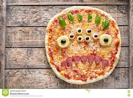 halloween creative scary food monster zombie face with eyes pizza