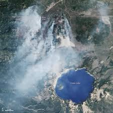 map of oregon near crater lake wildfire chars forest near crater lake nasa