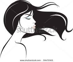 pretty woman silhouette vector woman face hair beauty