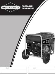 briggs u0026 stratton portable generator 030235 01 user guide