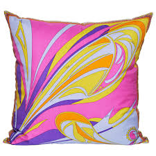 large pucci silk scarf cushion purple pink blue yellow pillow with
