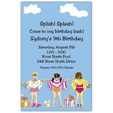 girls swimming birthday invitations paperstyle