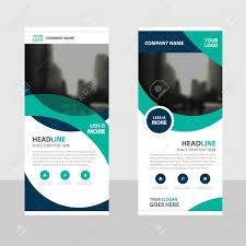 free printable vertical banner template green curve business roll up banner flat design template abstract