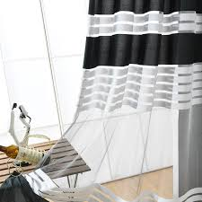 Black And White Window Curtains Black White Polyester Cloth Modern Simple Striped Bedroom