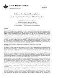 malaysian development planning system kuala lumpur structure plan
