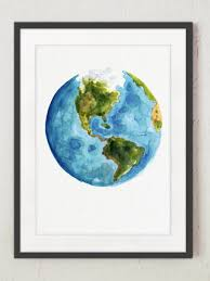 World Map Art Print by Watercolor World Map Painting Abstract Globe Art Print Gift