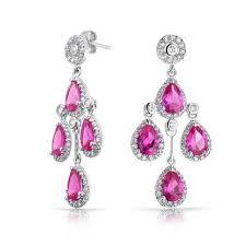 Pink Chandelier Earrings Bling Jewelry Color Crown Cz Teardrop Chandelier Earrings Rhodium