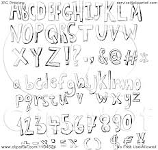cartoon of black and white sketched alphabet letters numbers and