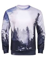 3d sweater 2018 sleeve 3d forest print sweatshirt colormix m in hoodies