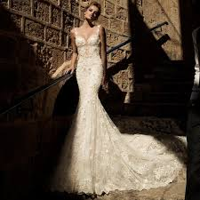 open back lace mermaid wedding dress with pearls chain spaghetti