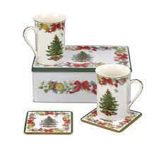 spode christmas tree 5 piece tin set 2 mugs 2 coasters tin