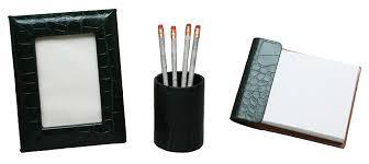 Desk Accessory Sets Small 3 Reptile Texture Leather Desk Set