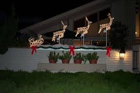 Lighted Deer Lawn Ornaments by New Christmas Lights Outdoor Decorations On Decorations With How