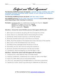 best ideas of subject verb agreement printable worksheets on